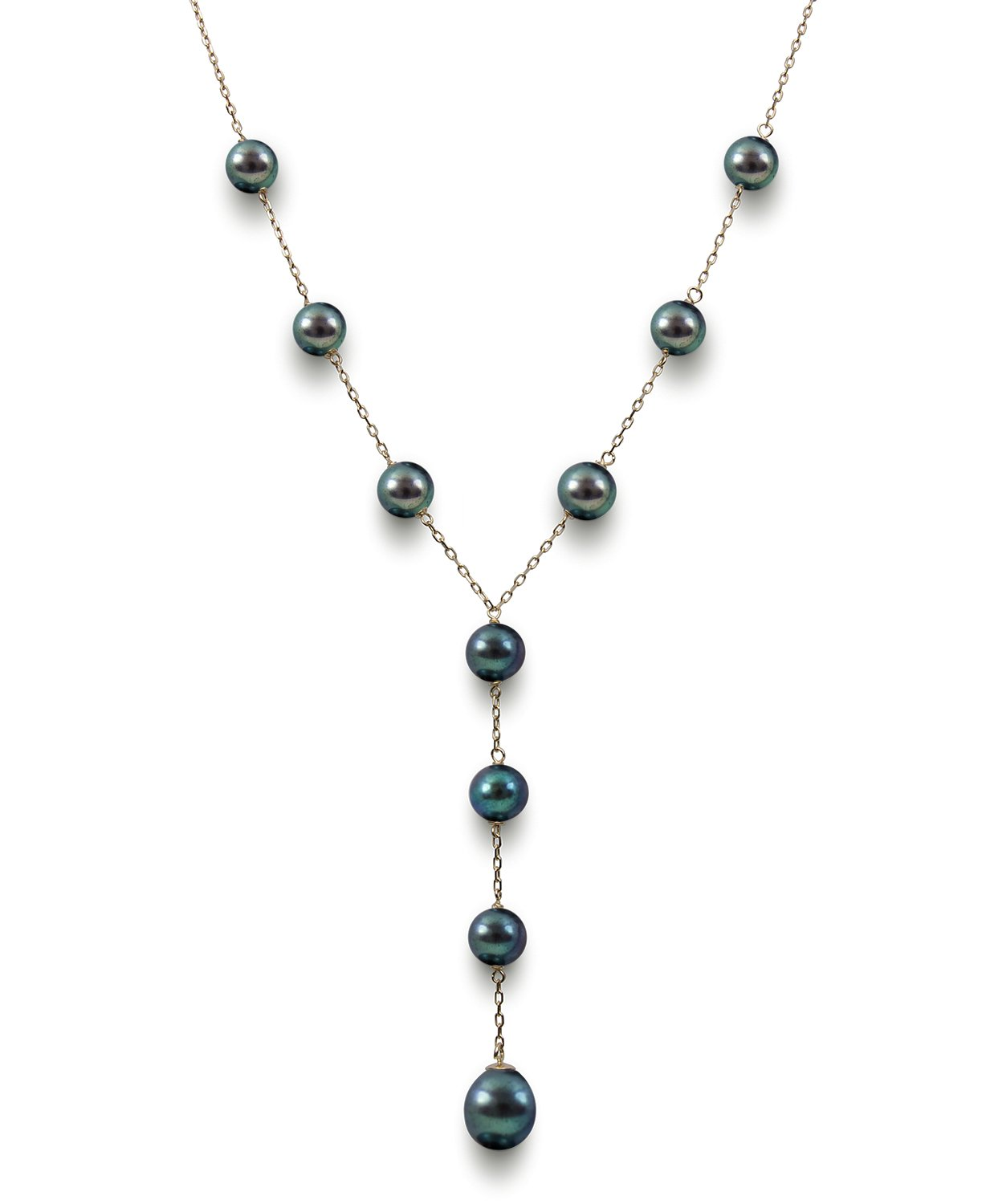 14k Yellow Gold Black Cultured Freshwater Pearl Y Shaped Station Necklace, 17.5''