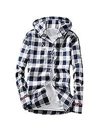 Pishon Men's Long Sleeve Shirt Cotton Lightweight Hooded Plaid Button Up Shirts