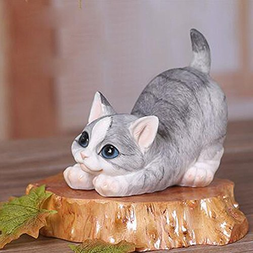WuKong Polyresin Patio, Lawn & Garden Sculptures & Statues Cat Decoration,Car Decor,Home Furnishings (Lazy) (Bench Animal)