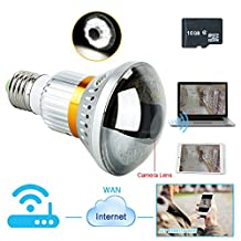 Toughsty™ 16GB Wifi Network Hidden Camera LED Bulb Motion Detection Video Recording Remote View 120 Degree Wide View Angle
