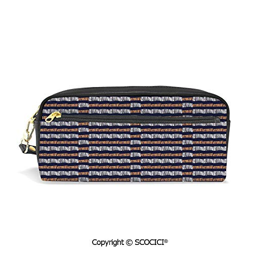 - PU Leather Student Pencil Bag Multi Function Pen Pouch Abstract Authentic Motif with Horizontal Folk Bands Vintage Culture Design Office Organizer Case Cosmetic Makeup Bag