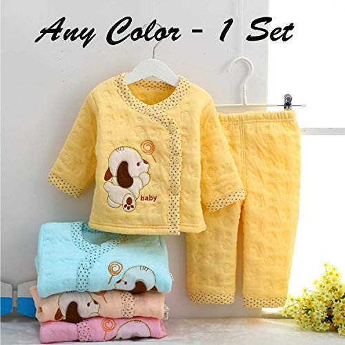 Hold Present Newborn Baby's Winter Wear Warm Cotton 2 Pcs Gift Set 0 to 6 Month. (Any Color -Print – 1 Set)