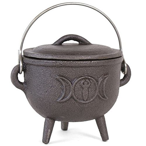 Something different 4.3in Cast Iron Cauldron with Triple Moon (4.7 x 4.4 x 2.8 in) (Black)