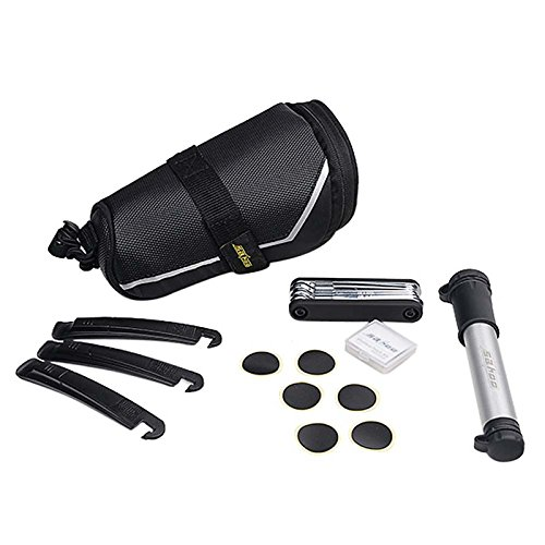 Complete Repair Set Emergency Bicycle tool Kit Self Fixing W/Portable Hand pump and Carry Bag Under Seat Design Best Gift Idea BBK-A3