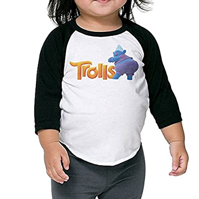 LOVEGIFTTO KID Child/Infant Cute Trolls Movies O-Neck 3/4 Sleeve Raglan Tee Shirt