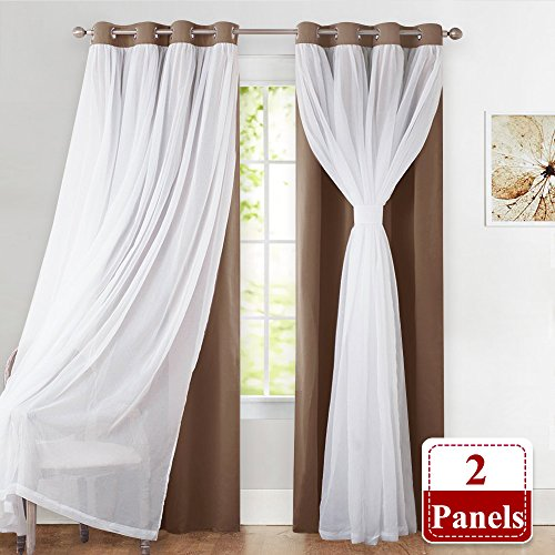 PONY DANCE Mix Match Voile x Blackout Curtains - Window Treatments Grommet Top Blackout Curtains Crushed Sheer Bonus Tie Backs living Room, 52 W x 84 L in, khaki, One Pair - Tie Top Pair Sheer