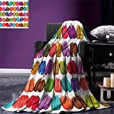 Colorful,Park Blanket,French Macarons in a Row Coffee Shop Cookies Flavours Pastry Bakery Food Design,All Weather Blanket,Multicolor,Size:60''x36''
