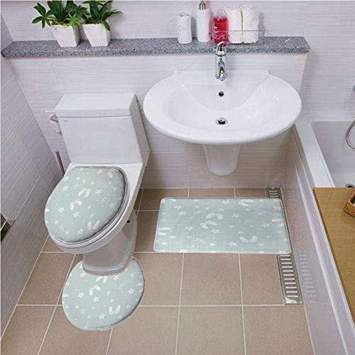 (Bath mat Set Round-Shaped Toilet Mat Area Rug Toilet Lid Covers 3PCS,Aqua,Beach Theme Decor Sea Shells Starfishes Flip Flops Glasses Summer Holiday Image Decorative,Seafoam and White,Printed Rug Set)