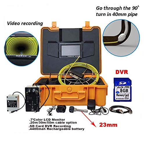 YAMEIJIA Sewer Inspection Camera System 7inch Color LCD Monitor DVR Recording Fiberglass Cable 4400 Rechargeable Battery 23mm,20M