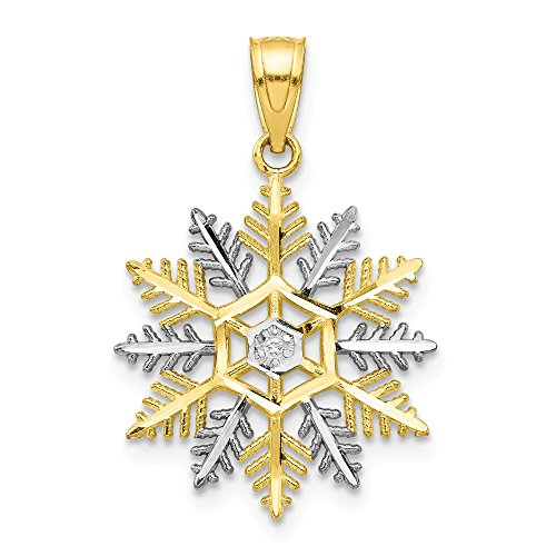 (10k Yellow Gold Snowflake Pendant Charm Necklace Winter Fine Jewelry Gifts For Women For Her)