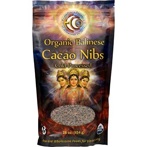 Earth Circle Organics: 100% Raw Balinese Cacao Nibs 16 Oz (6 Pack)