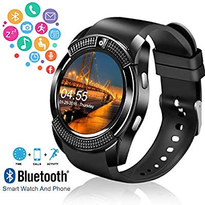 Smart Watch,Bluetooth Smartwatch Touch Screen Wrist Watch with Camera/SIM Card Slot,Waterproof Smart Watch Sports Fitness Tracker Compatible with Android iOS Phones Samsung Huawei