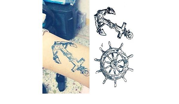 Oottati Tatuajes Temporales El Brazo Anclaje Timón (Juego De 2): Amazon.es: Belleza