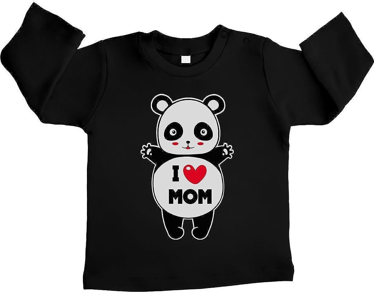 Shirtgeil Panda I Love You Mom Abbraccio affettuoso Maglietta Neonato Manica Lunga Unisex