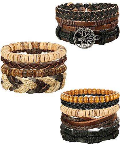 FIBO STEEL 15-16 Pcs Braided Leather Bracelets for Men Women Woven Cuff Bracelet Adjustable,FS