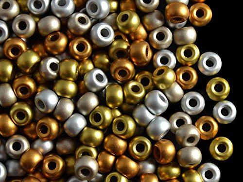 50pcs Pony Beads - Czech Pressed Glass Beads in Shape Roller 5.5mm, Terra Metallic Mix Jablonex