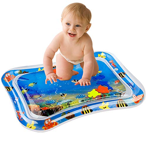 (D-FantiX Inflatable Tummy Time Water Mat,Baby Water Play Mat BPA Free Leak Proof Playmat for Infant& Toddlers Activity Center Development Your Baby's Stimulation Growth 26x20inch)