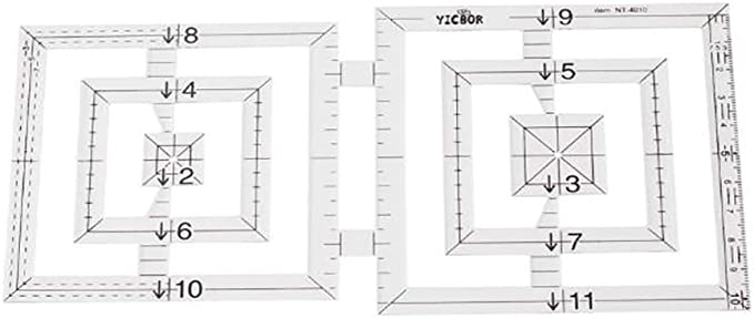 YICBOR 5pcs DIY Tools Sewing Parts Ruler Patchwork Rules Quilting Rules Double-Pentagon Ruler Double Circle Ruler for Sewing Machine