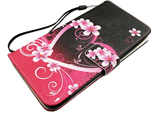 For LG Aristo / Fortune/ Phoenix 3 / Risio 2 LG K8 2017 / K4 2017 M210 M150 M153 Wallet Card Phone Cover Case + Gift Stand (Wallet Pink Heart Flower)