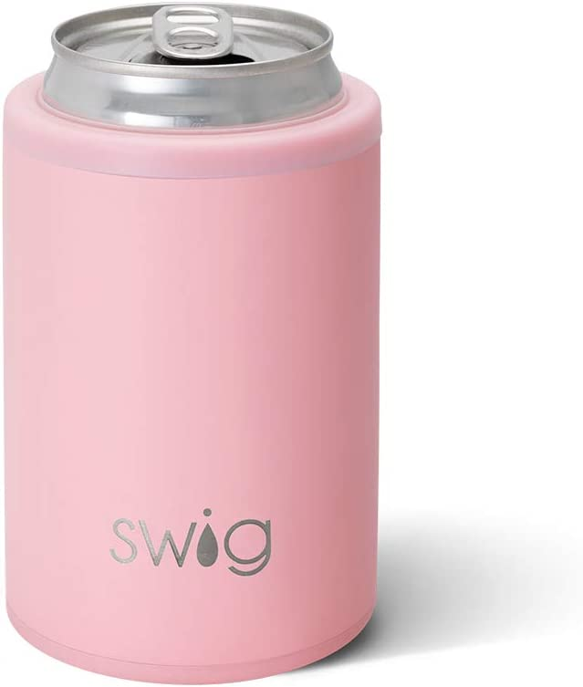 Swig Life 12oz Triple Insulated Combo Can or Bottle Cooler, Dishwasher Safe, Double Walled, Stainless Steel Beer Coozies for Cans or Bottles in Matte Blush