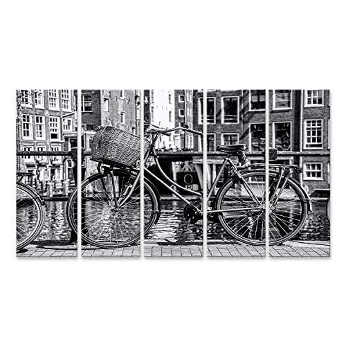 bilderfelix Cuadro Lienzo Amsterdam en Blanco y Negro con Bicicleta en el Puente en Holanda Impresion Lienzo Formato Grande Cuadros Modernos STO