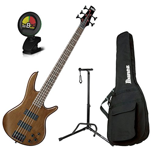 - Ibanez GSR205BWNF 5 String Walunt Flat Finish Electric Bass with Gig Bag, Stand, and Tuner