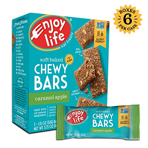 Enjoy Life Chewy Bars, Soy free, Nut free, Gluten free, Dairy free, Non GMO, Caramel Apple, 6 Boxes (30 Bars) (Best Apples For Caramel Apples)