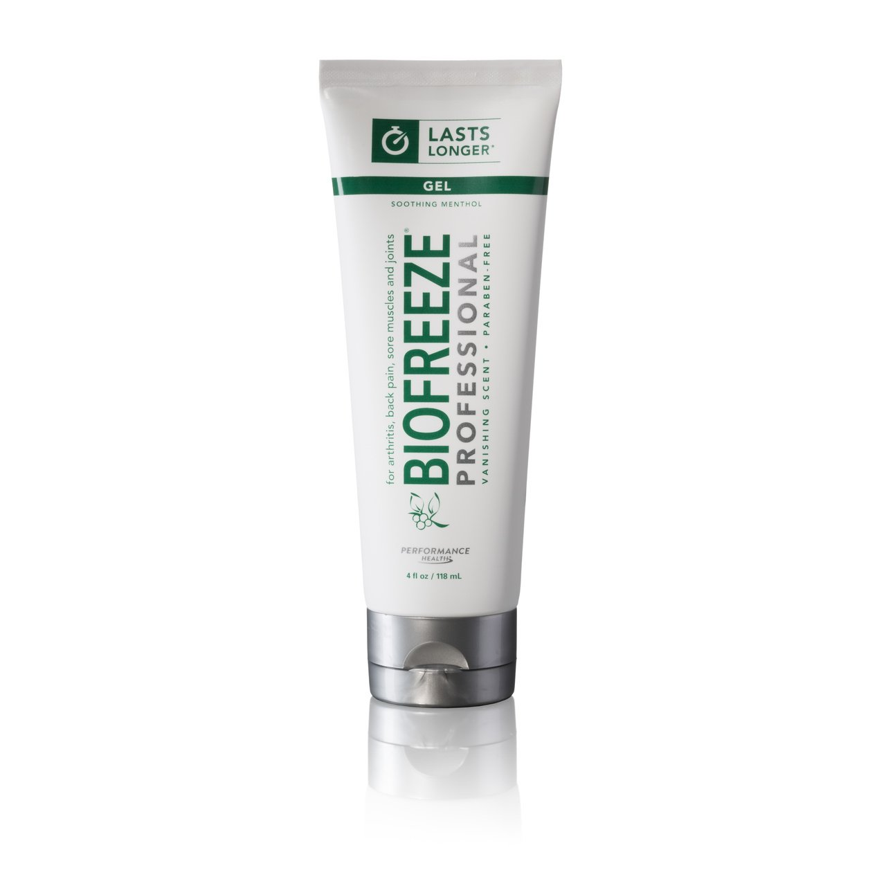 Biofreeze Professional Pain Relieving Gel, Enhanced Relief of Arthritis, Muscle, Joint, Back Pain, NSAID Free Pain Reliever Cream for Sore Muscles, 4 oz. Tube, Original Green Formula, 5% Menthol