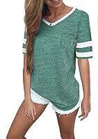 Twotwowin Women's Summer Tops Casual Cotton V Neck Sport T Shirt Short/Long Sleeve Blouse