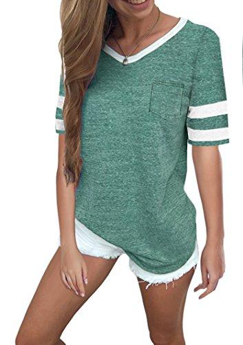 Twotwowin Women's Summer Tops Casual Cotton V Neck Sport T Shirt Short Sleeve Blouse(gr-XXL) - Stripe Cotton Top Blouse