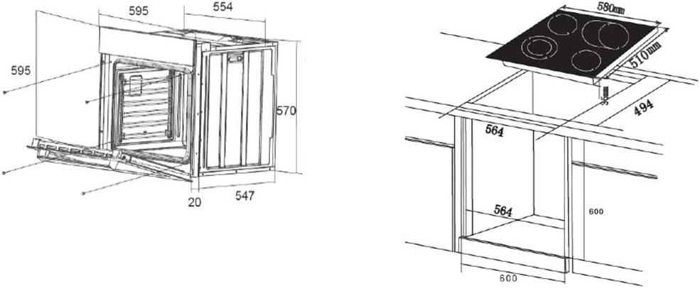 PKM Einbauherdset Backofen mit Glaskeramik Kochfeld BIC8 GK-2KB IX4