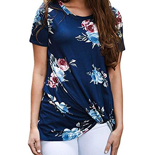 Shirt Top Round Neck Short Sleeve Floral Print Asymmetric Hem Summer Casual Floral Printing Knot T-Shirt Short Sleeve Tops Blouse Women (XXL,10- Blue)]()