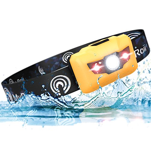 Premium LED Headlamp Lightweight 2.6oz, Waterproof, Shockproof Headlight Flashlight 5 Modes Up to 450 Ft Beam. Bonus Batteries & Reflective Band. Best For Running, Biking, Camping, Fishing, Hiking