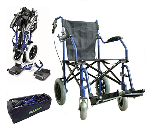 Elite Care Heavy Duty Lightweight Folding Transport Travel Wheelchair In A Bag With Handbrakes (Heavy Duty Transport Chair)