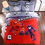 CASA 100% Cotton Kids Bedding Set Boys Big Hero 6 Baymax Duvet cover and Pillow cases and Fitted Sheet,4 Pieces,Queen