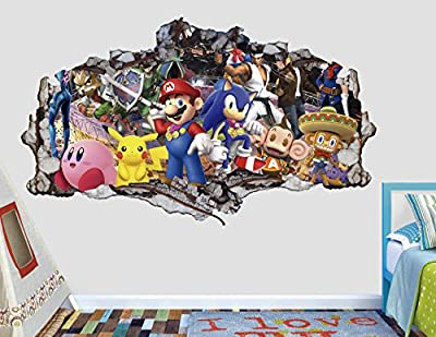 Mario Sonic Pikachu Group Adventure 3D Sticker Wall Decal Smashed Vinyl Decor Mural Games - Broken Wall - 3D Designs - AL42