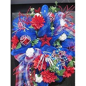 Patriotic Door Wreath, mesh door wreath, Independence Day, July 4 wreath, Memorial Day, summer door wreath, front door wreath 42