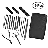 Frcolor Manicure Pedicure Set, Nail Clipper Travel Grooming Kit Nail Clippers Set with Case (19Pcs)