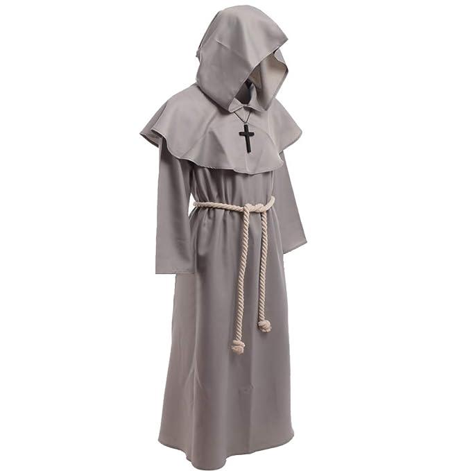 BLESSUME Disfraces de Monje Sacerdote Túnica Fraile Medieval ...