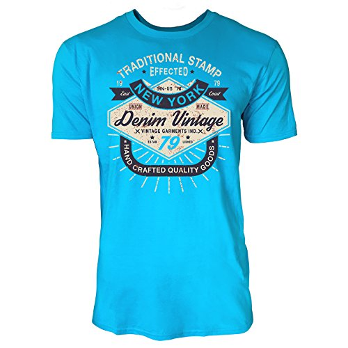 Sinus Art ® Herren T Shirt Denim Vintage 79 ( Caribbean Blue ) Crewneck Tee with Frontartwork
