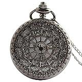 VIGOROSO Men Lady Pocket Watch Black Spider Web Vintage Retro Steampunk Necklace Pandant in Gift Box