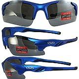 Global Vision Metro Safety Sunglasses Matte Metallic Blue Frames Flash Mirror Lenses ANSI Z87.1+