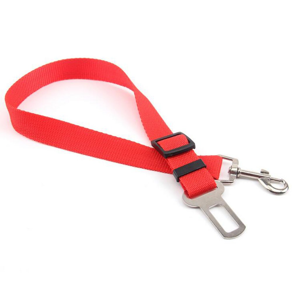 Haodou Pet Dog Car Vehicle Seat Belt Adjustable Safety Leash with Clip Nylon Lead Restraint Harness Safety Seat Strap for All Cars Trucks (Red)