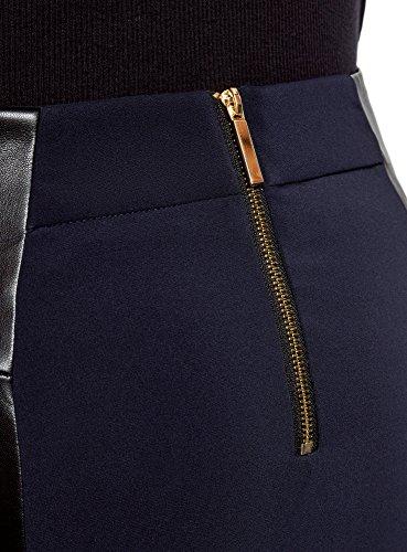 oodji en Bleu Similicuir Zips Dcoratifs Femme 7929b Empicements et Collection Jupe avec rx8wH4WrqB