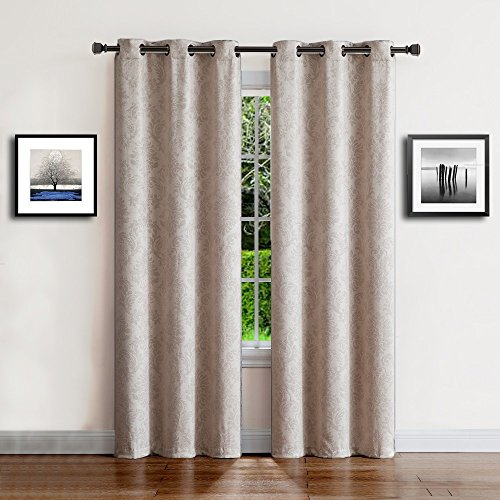Warm Home Designs 1 Pair (2 Panels) of Extra Long Ivory (Cream) Insulated Thermal Blackout Curtains with Embossed Textured Flower Pattern. Each Window Panel is 38