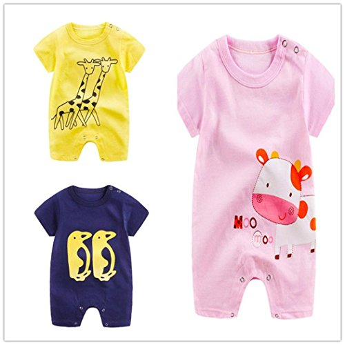G-real Newborn Infant Baby Boys Girls Cartoon Bodysuit Short Sleeve Cotton Romper Jumpsuit For 0-24M
