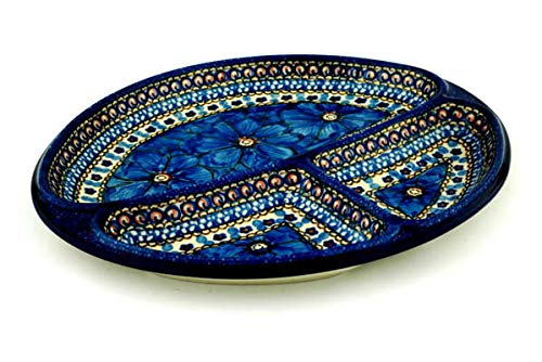 - Polish Pottery 11-inch Divided Dish made by Ceramika Artystyczna (Cobalt Poppies Theme) Signature UNIKAT + Certificate of Authenticity
