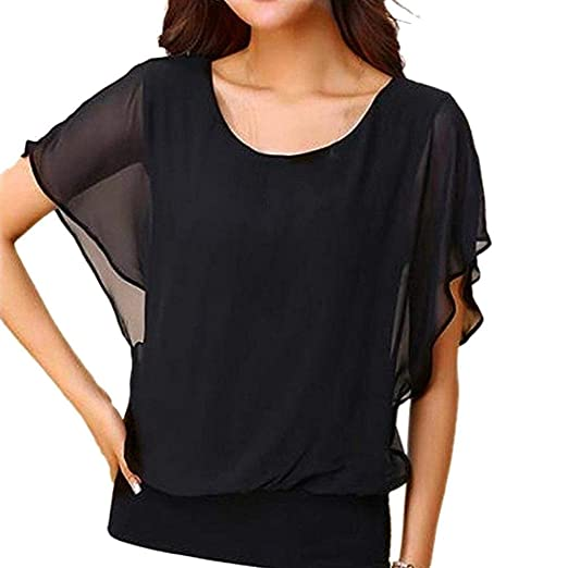 c5a69546 Wobuoke Women's Loose Casual Short Sleeve Chiffon Top T-Shirt Blouse Black