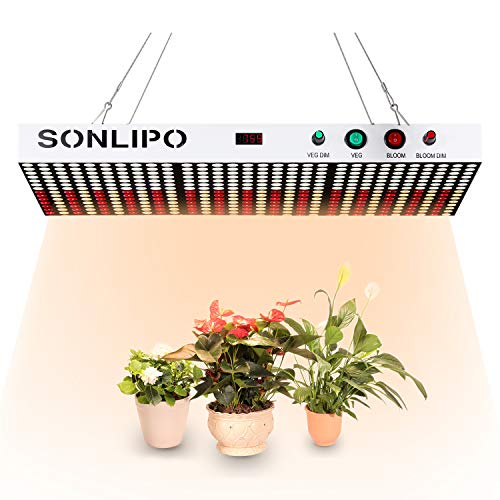 Sonlipo 2019 Newest LED Grow Light 2000W Full Spectrum with Veg and Bloom Double Models Dimmable and Timer LED Growing Lamp for All Growing Stage of Indoor Plants