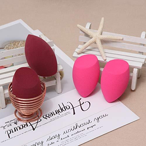 Makeup Sponge Latex-free Foundation Blending Sponges Set of 4 Pcs + Sponge Holder 1 Pc, Multi-color and Dual use (Pink & Wine)